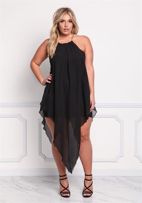 Plus Size Chiffon Chain Strap Pointed Dress