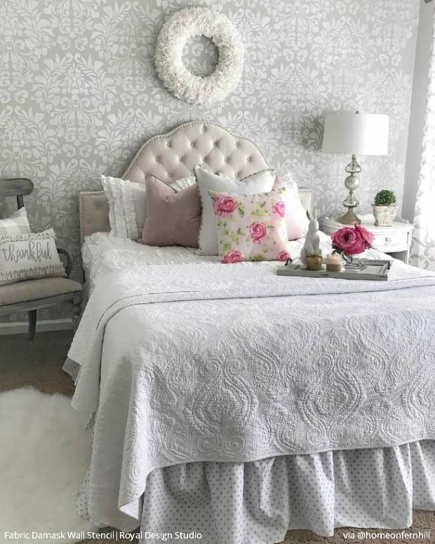 . Stencil Your Bedroom with a Classic Damask Wallpaper Look   Accent