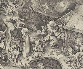 Detail van Jacobus en de tovenaar. Bruegel, 1565. Bruegel plaats een kat voor de haard die in ernstig gesprek is verwikkeld met een pad. Katten en katers worden als wellustig en onkuise beesten beschouwd. Heksen zouden zich veranderen in een kat om er 's nachts op uit te trekken. Een zwarte kat wordt gezien als de duivel in hoogst eigen persoon.