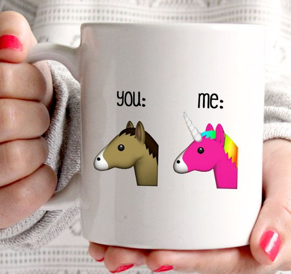 Emoji you and me coffee mug, funny mug with unicorn and horse