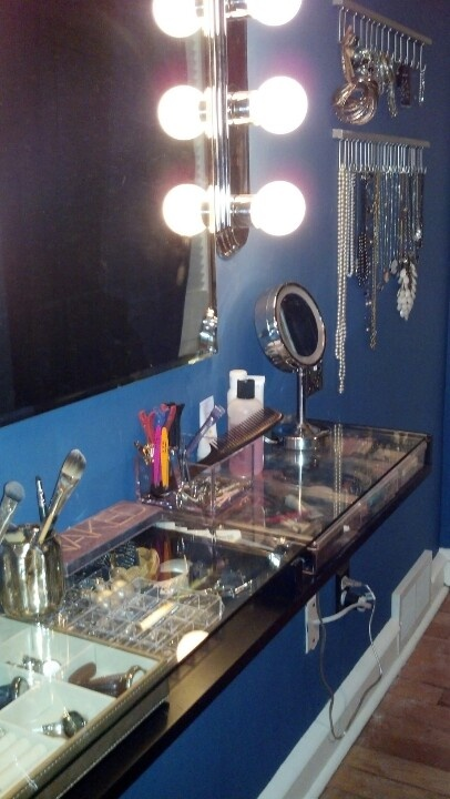 IKEA hack vanity using Ekby Gruvan glass topped shelf to keep everything visible but put away/protected $30!
