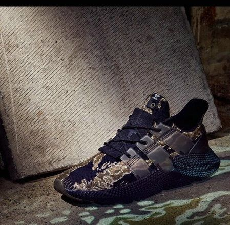 Undefeated X Adidas Originals Prophere Tiger Camo Core Black Trace Olive  Raw Gold shoe fit Sneaker ec2c9f30d6