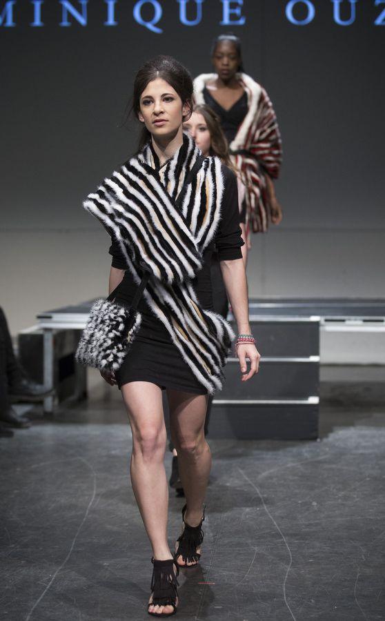 Recycled Fur Tartan Designer: Dominique Ouzilleau       Model: Camille Dubois-Chalifoux