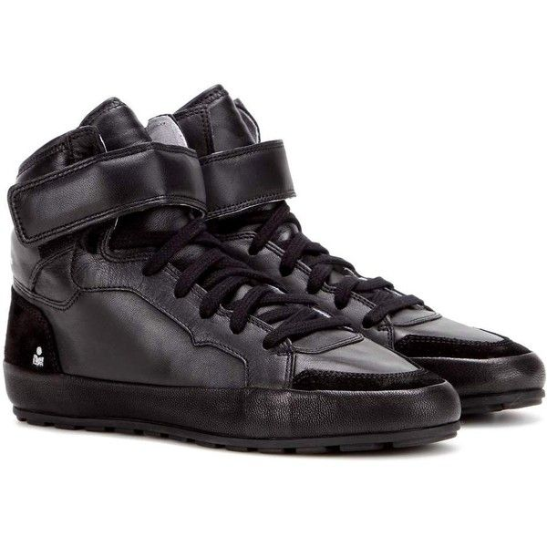 Isabel Marant Étoile Bessy Leather Sneakers ($280) ❤ liked on Polyvore featuring shoes, sneakers, black, black shoes, genuine leather shoes, leather sneakers, kohl shoes and black leather trainers