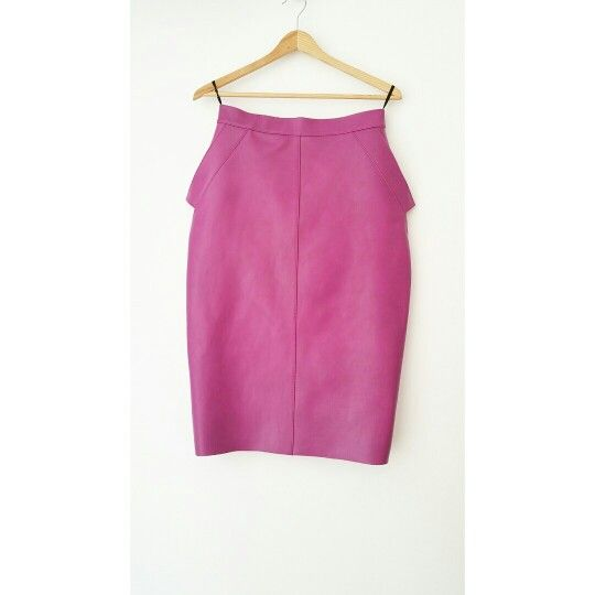 Andra Andreescu pink leather pencil skirt