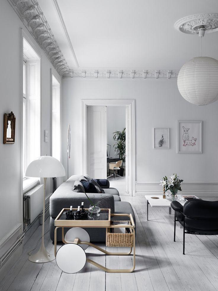 Salon Style Scandinave Canape Gris Fauteuil Cuir Noir Table Basse