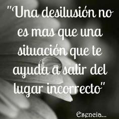 Una desilusión no es más que una situación que te ayuda a salir del lugar incorrecto.