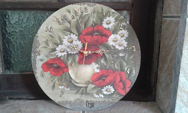 Relógio floral de parede lindo para decorar sua cozinha , pintura e decoupagem