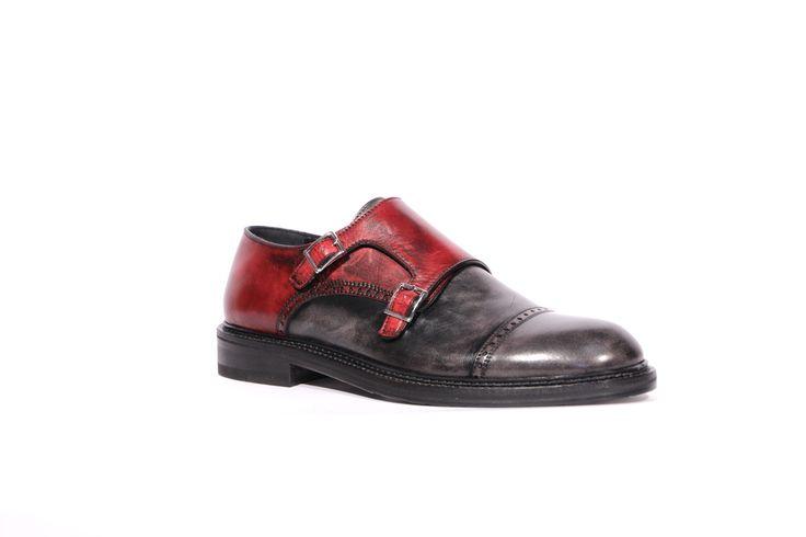 scarpe uomo in vera pelle artigianali articolo 903 grigio e rosso black brushed viste di profilo