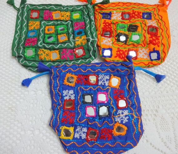 Indian Embroidered Ethnic Bag  Fabric Pouch by uDazzleSupplies