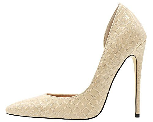 Maovii Womens Big Size High Heel Pointed Toe Noble Elegance Texture Leather Court Shoes 13 M US Beige <3 Offer can be found by clicking the image