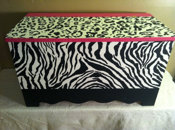 Funky Hand painted wooden chest toy box zebra by TheRummageRack, $249.99