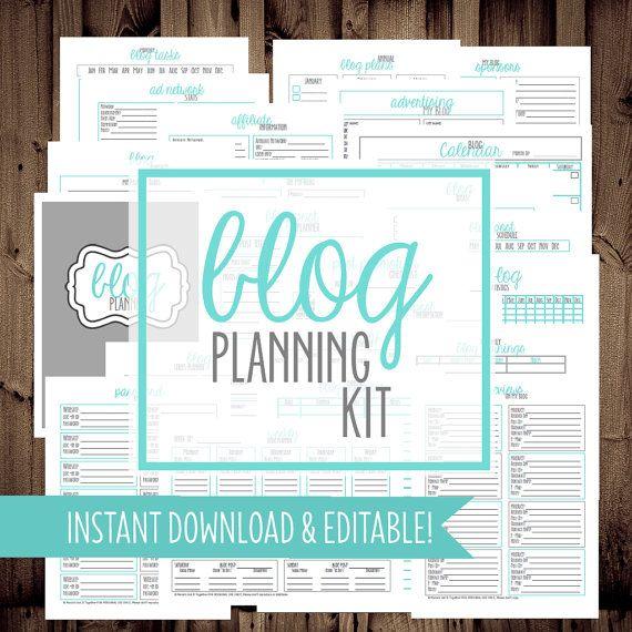 Blog Planner-PDF-Blog Management Printables-Printable Blog Planning Kit-23 Sheets-Blue-Instant Download & Editable
