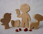 Wooden toy - boy, animals and tree, gift for boy. $39.00, via Etsy.