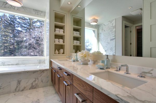 Bathroom with built in wall shelves Bathroom Wall Shelves That Add Practicality And Style To Your Space