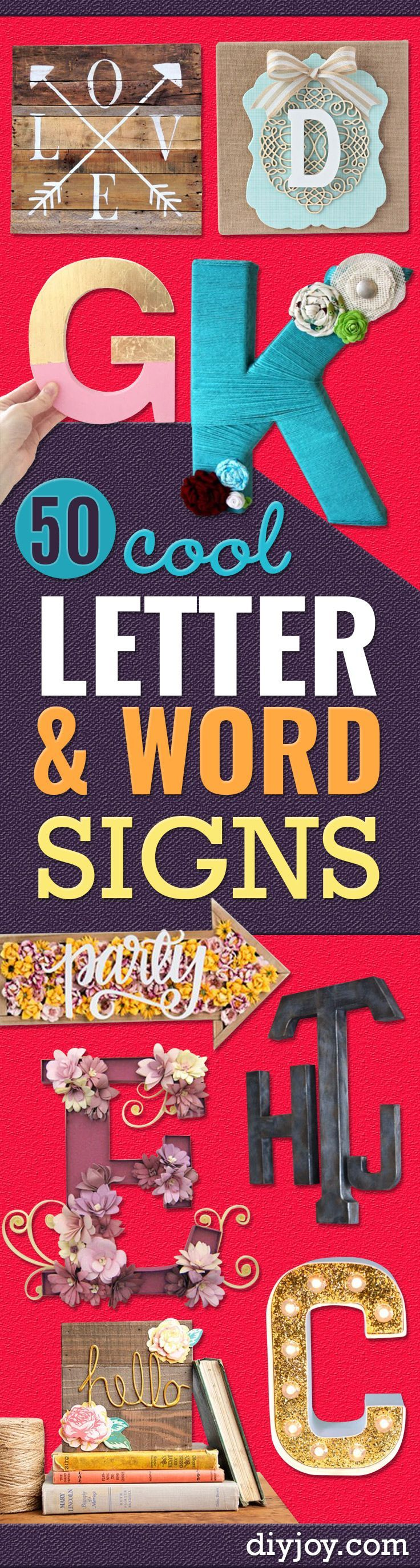 DIY Wall Letters and Word Signs - Initials Wall Art for Creative Home Decor Ideas - Cool Architectural Letter Projects and Wall Art Tutorials for Living Room Decor, Bedroom Ideas. Girl or Boy Nursery. Paint, Glitter, String Art, Easy Cardboard and Rustic Wooden Ideas - DIY Projects and Crafts by DIY JOY http://diyjoy.com/diy-letter-word-signs