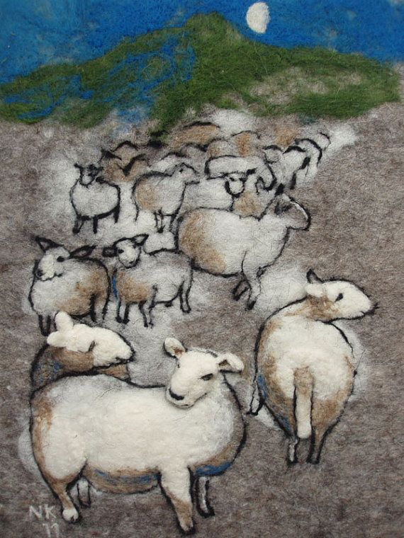 """Sheep in the night"". Felted wall hanging, wet and dry needle felted. Nerijus"