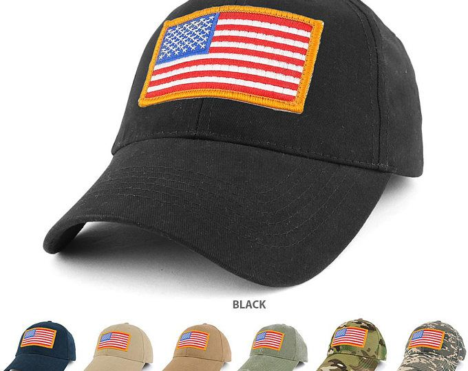 USA Gold American Flag Embroidered Tactical Patch with Adjustable Operator Cap (EC-70608-USA-Gld)