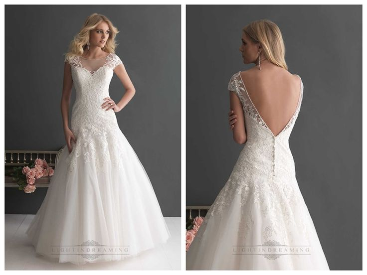 Elegant A-line Cap Sleeves Bateau Neckline Wedding Dresses with Deep V-back