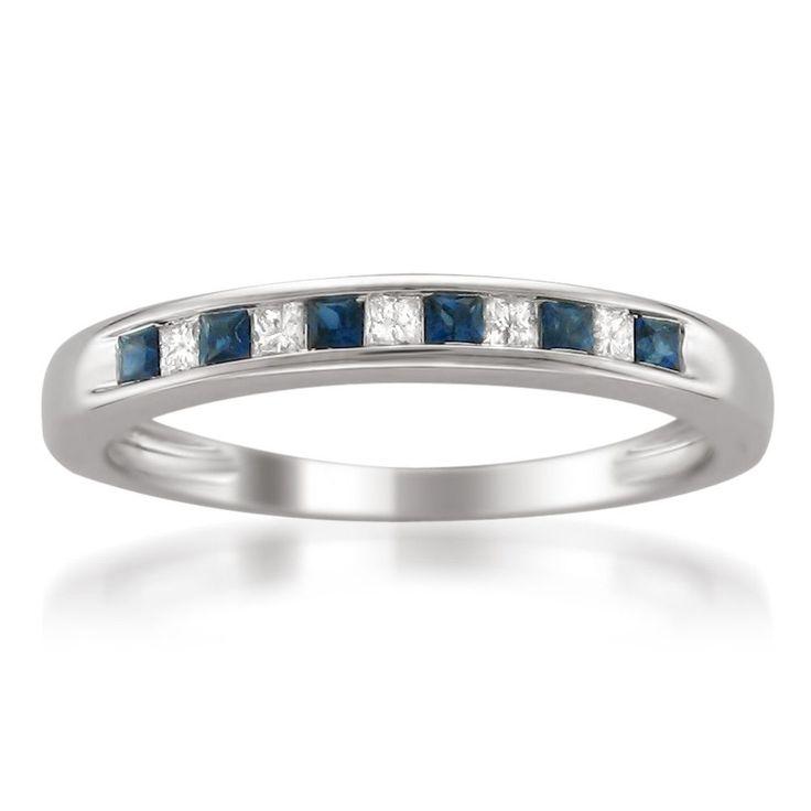 14k White Gold Princess-cut Diamond and Blue Sapphire Wedding Band Ring (1/3 cttw, H-I, I1-I2)