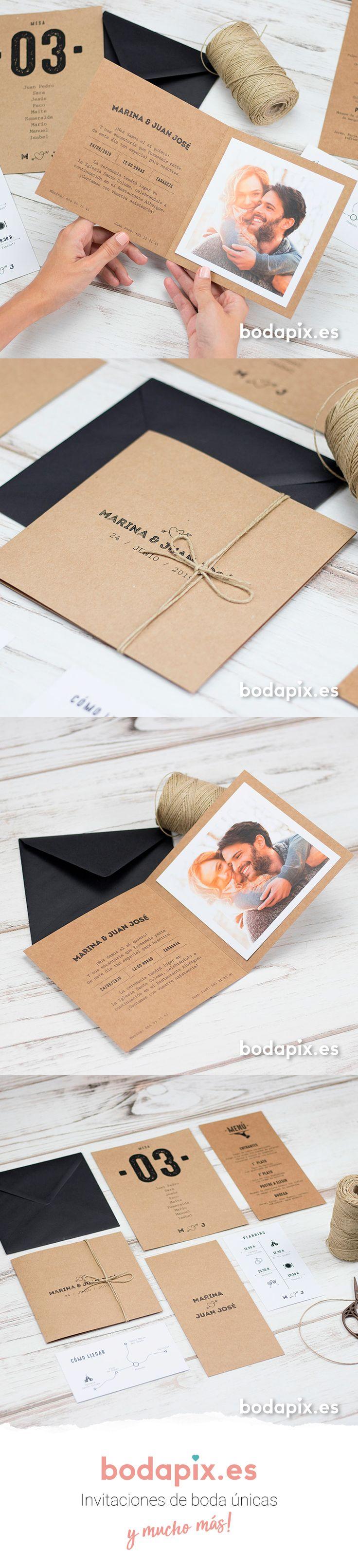 Invitación de boda con foto ideal para bodas rústicas – Modelo One Love – Colección Bodapix #bodapix #bodas #invitaciones #wedding #weddinginvitations #cards #kraft