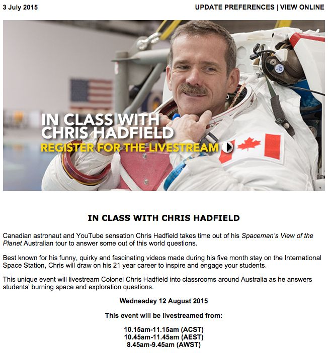 Canadian astronaut and YouTube sensation Chris Hadfield takes time out of his Spaceman's View of the Planet Australian tour to answer some out of this world questions. Read the full newsletter at ow.ly/P7rZf
