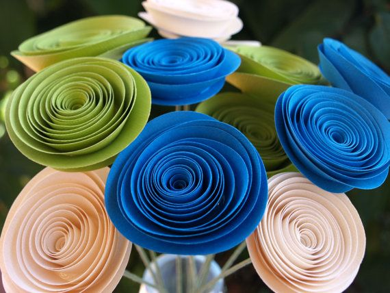 Ocean Blue Lime Green and Cream Paper Flowers by PulpPetals, $24.00