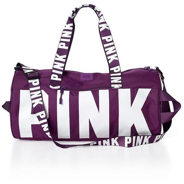 Victoria's Secret Pink Duffle Bag- Muave Mist ($58) ❤ liked on Polyvore featuring bags and luggage