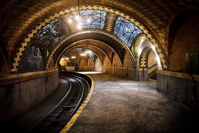 Abandoned New York Subway station.  Its curved railways were considered unsafe, and it was closed in 1945