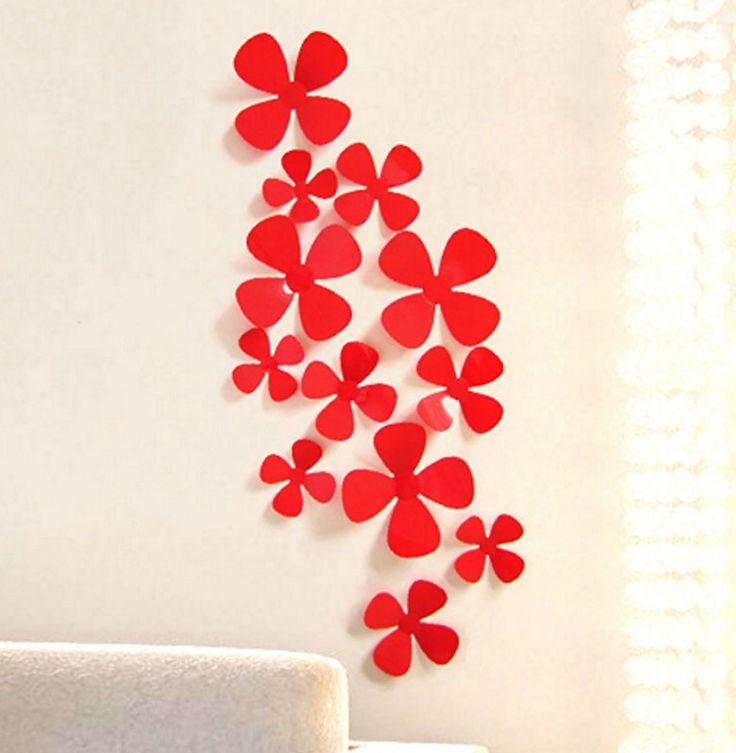 3D wanddecoratie bloemen rood. Bestel ze eenvoudig en snel in onze webshop www.stickerkamer.nl