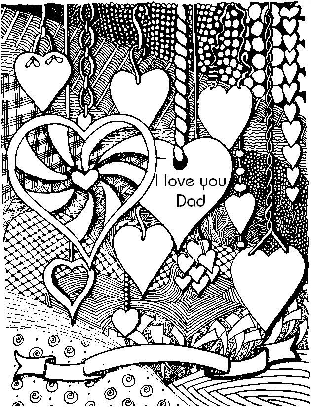 Printable Coloring Pages For Adults Love : I love you dad adult colouring hearts zentangles