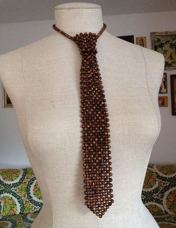 Retro Brown And Gold Beaded Necktie Necklace by HopeKnowsVintage