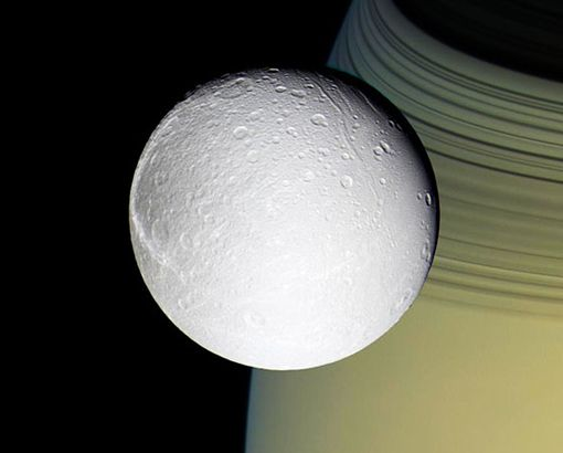 Moons of Saturn : Dione Discovery News Giovanni Cassini, who spent a good part of his life looking at Saturn through a telescope, discovered Dione in 1684. Like most Saturn satellites, it's made mostly of ice. The Cassini spacecraft -- named after you-know-who -- found cliffs of ice hundreds of feet high in late 2004. Scientists think movement of the crust split it open to create the towering structures.  CREDIT: NASA