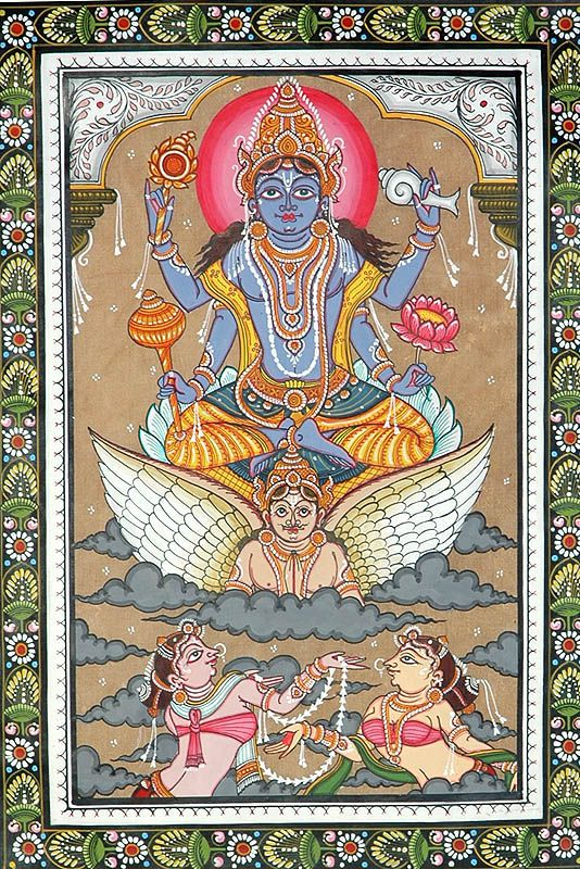 Lord Vishnu inspecting the Universe.