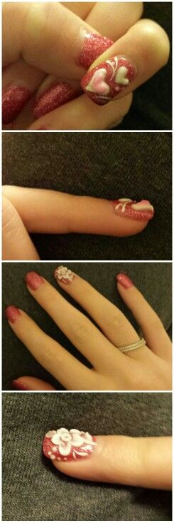 3D acrylic nail designs painted with Gel nail polish for Valentine's Day. 16 days since painted and nails still look fabulous! Check-out Peace Nails on the Carlisle Pike in Mechanicsburg,  Pa. AMAZING!