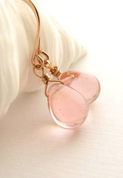 """Rose gold earrings pink glass- like dangly? Would you like more of the metal instead of the """"jewels""""?"""