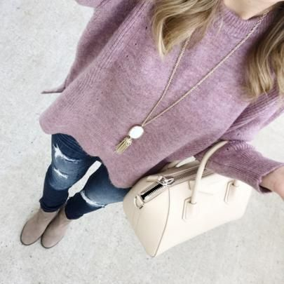 cozy lilac sweater winter outfit inspiration @sunsetnstiletto