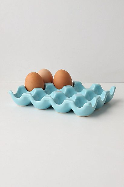 Stoneware egg crate, use to sort earings at vanity, small embellishments in craft area or supplies at desk.