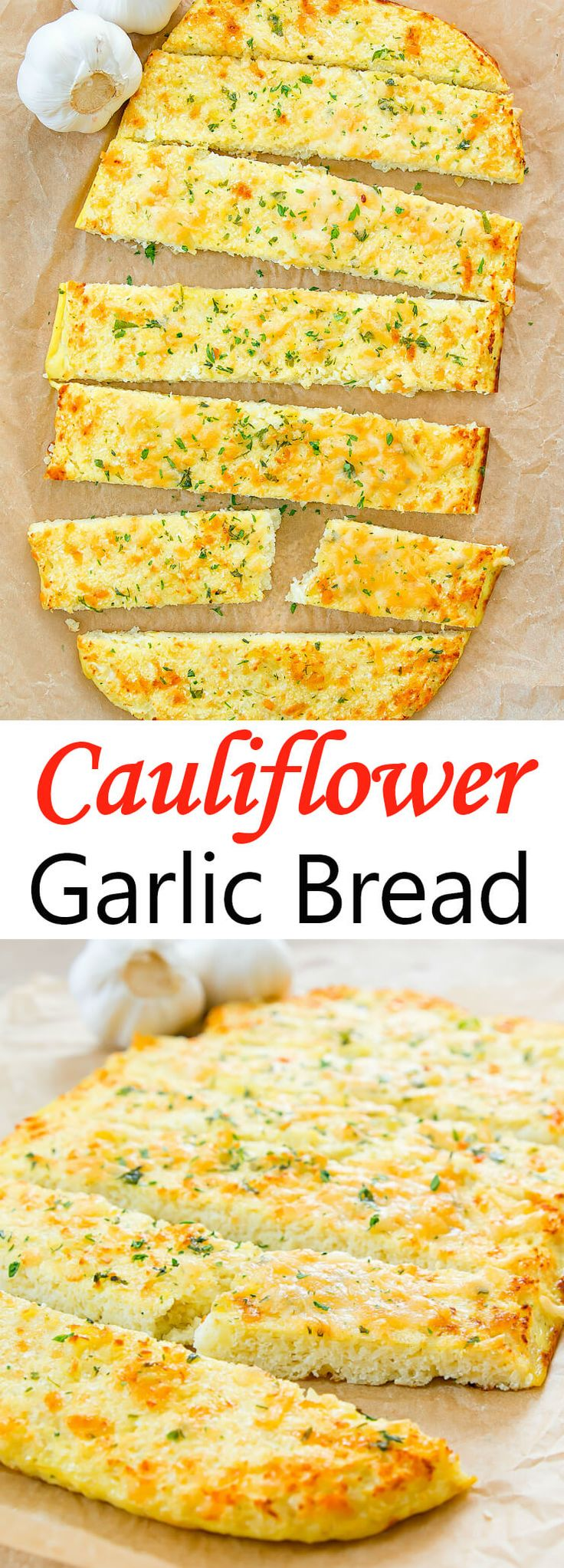Cauliflower Garlic Bread. A low carb and healthier alternative to traditional garlic bread.