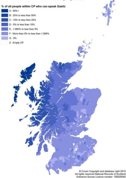 Map showing spread of Gaelic speakers across Scotland.