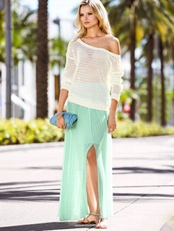 Daytime chic meets nighttime elegance in the Pleated Maxi Skirt from Victoria's Secret. In a flowy easy-to-wear fabric with knife pleats and a sexy high slit, this maxi is an artful creation that always makes a stunning impression.
