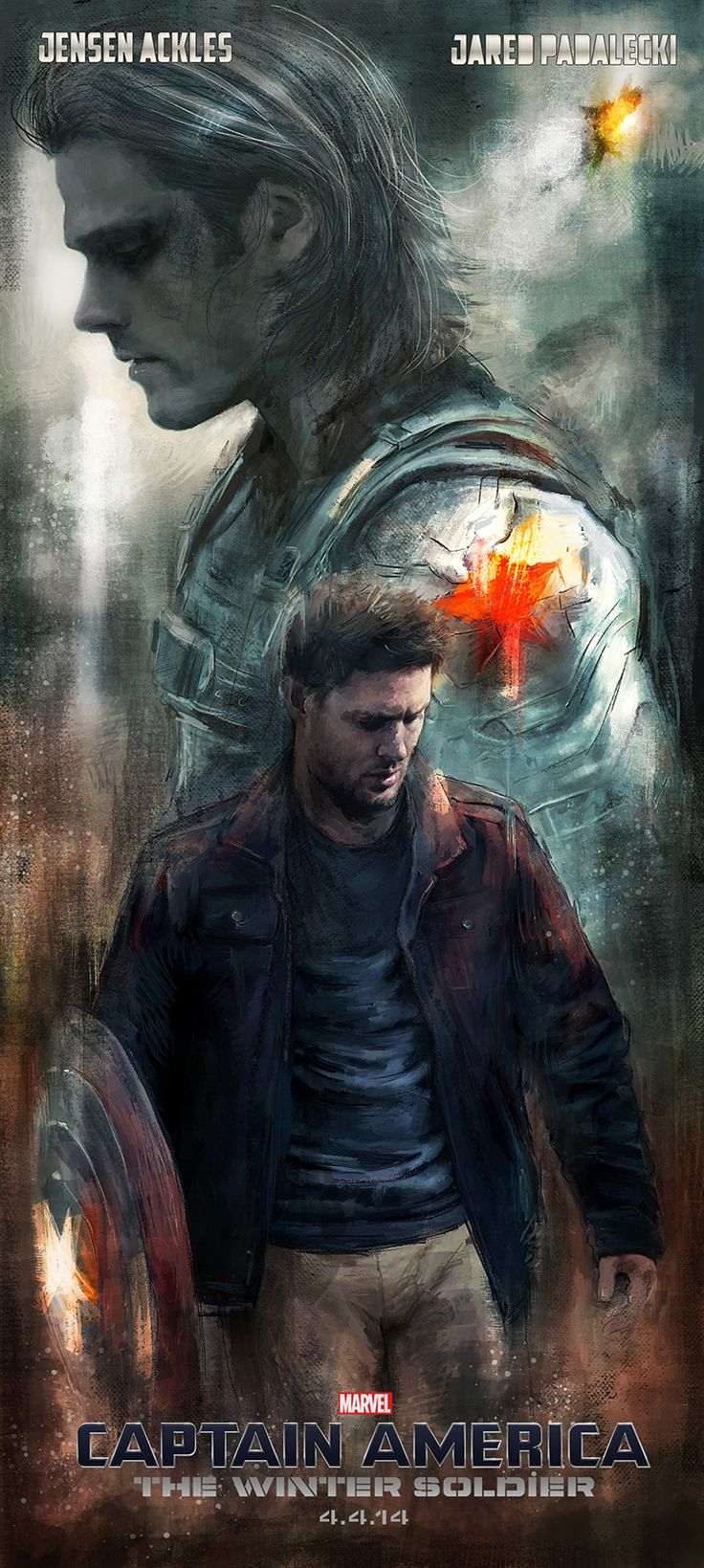 """ Jared Padalecki as The Winter Soldier and Jensen Ackles as Captain America. My contribution to this month's Spn art challenge and the theme ""Poster Movie Crossover"". "" by Petite-Madame on Tumblr."