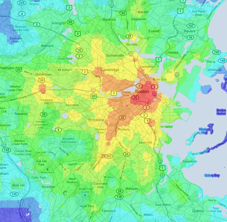 """Jeff Kaufman """"I thought it would be nice to make another map that shows the """"transit service quality"""" in an area. Roughly, this would mean """"how long does it take me to get places on transit starting from here?"""""""""""