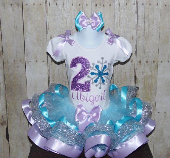 Snowflake ribbon trim tutu set. Snowflake birthday dress, frozen ribbon tutu set, snowflake birthday outfit. frozen dress. winter birthday