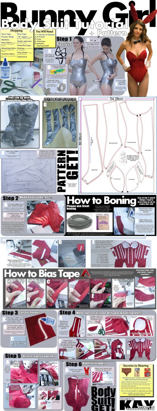 GREAT idea - and not just for a bunny suit! Bunny Girl Bodysuit Tutorial and Pattern by *calgarycosplay on deviantART
