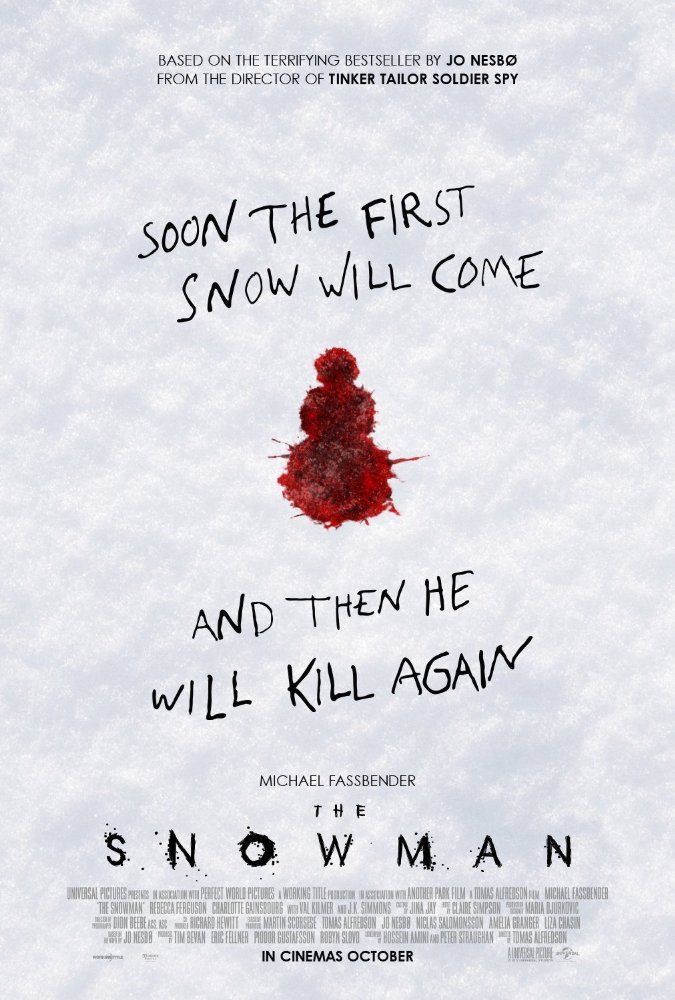 THE SNOWMAN (2017): Detective Harry Hole investigates the disappearance of a woman whose pink scarf is found wrapped around an ominous-looking snowman.