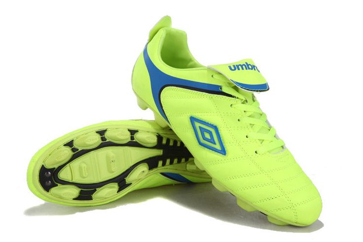 Umbro Cup HG Soccer Cleats Fluorescent Green Blue