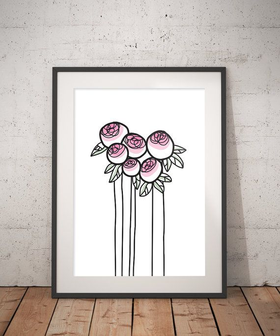Peony in bud - INSTANT DOWNLOAD - Illustration Art, Pink, Printable Art, Minimalist, Illustration Artwork, Digital Art, Peony, Vintage