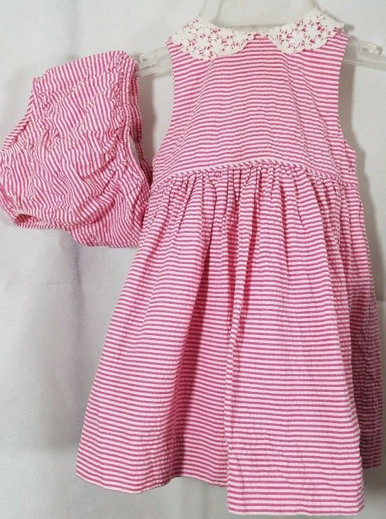 4929897c1 Ralph Lauren Dress Pink Lace Stripe Poplin Gingham Bloomers Toddler Sz 12M  Party