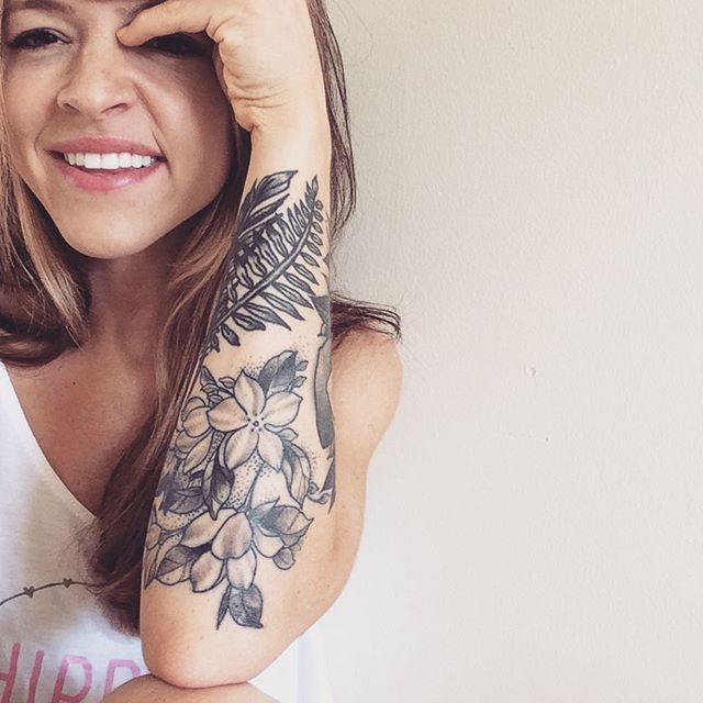 half sleeve with some wild flowers